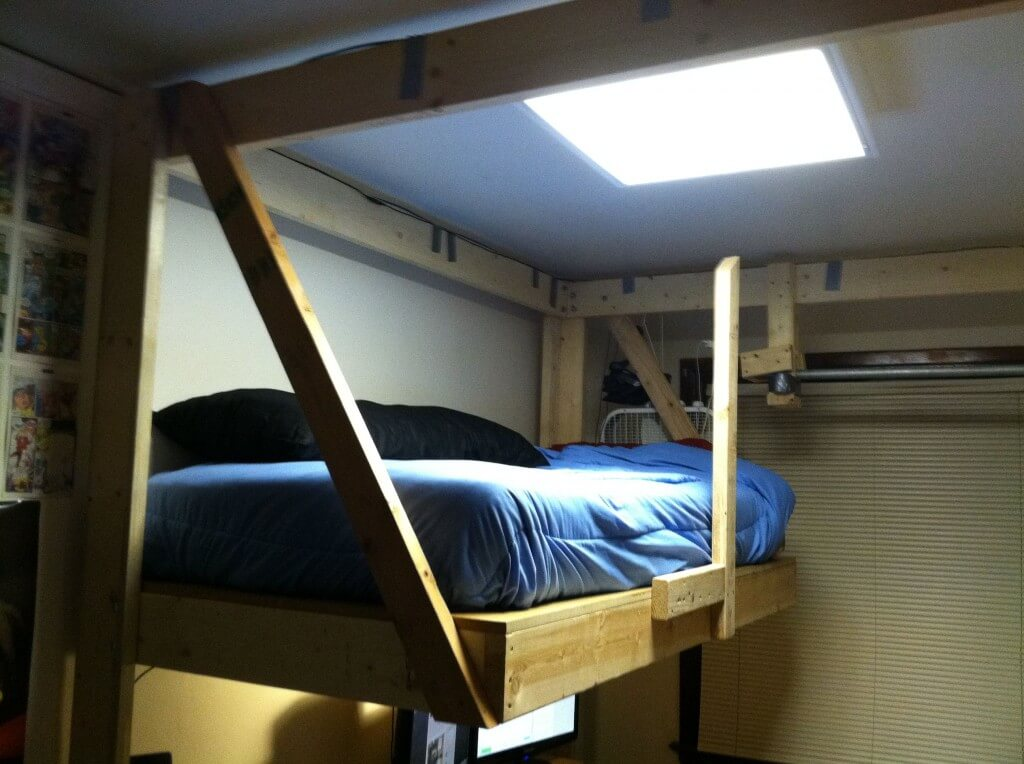 how to build the ultimate hanging loft bed. Black Bedroom Furniture Sets. Home Design Ideas