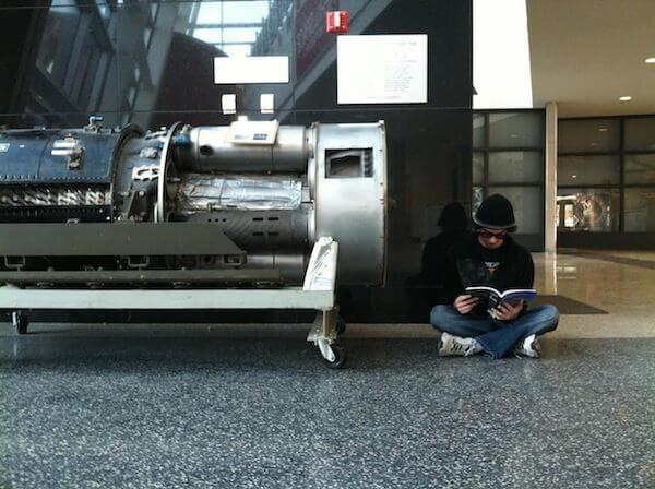 Next to a jet engine