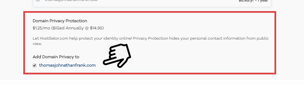The Domain Privacy Protection option.