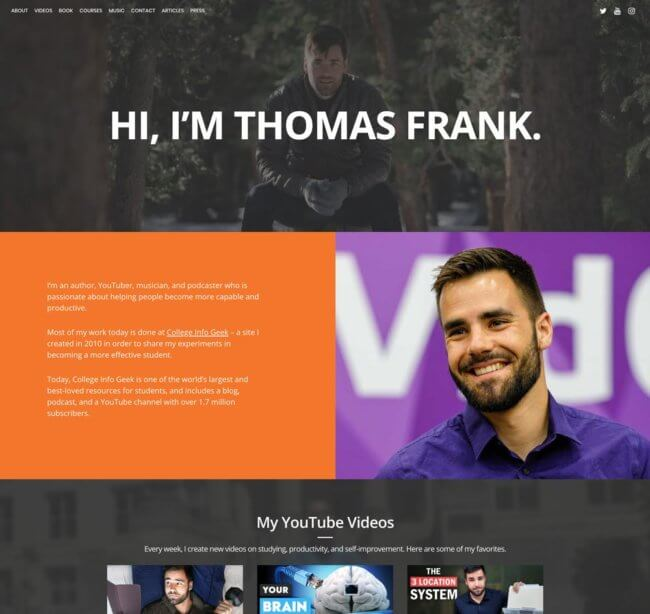 Thomas Frank's Personal Website - 2020