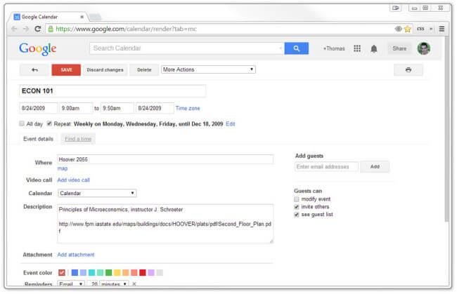 A class event listing in Google Calendar