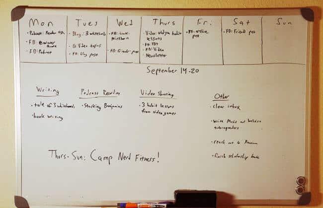 Weekly planning board.