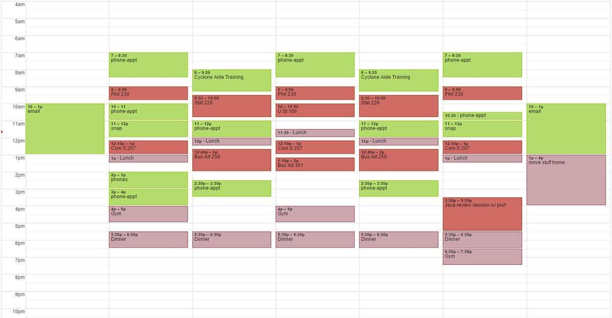 calendars for college homework
