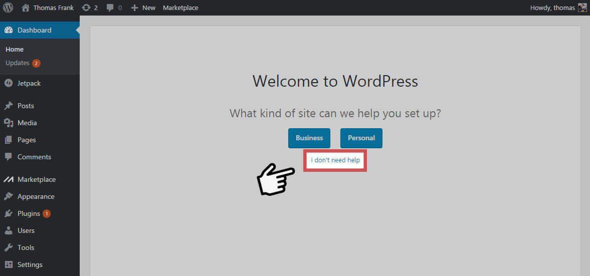 WordPress Dashboard - Dont Need Help