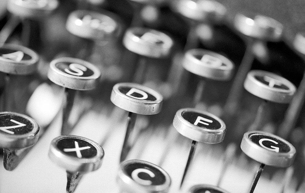 typewriter keys close up