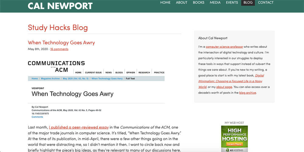 Cal Newport's personal website