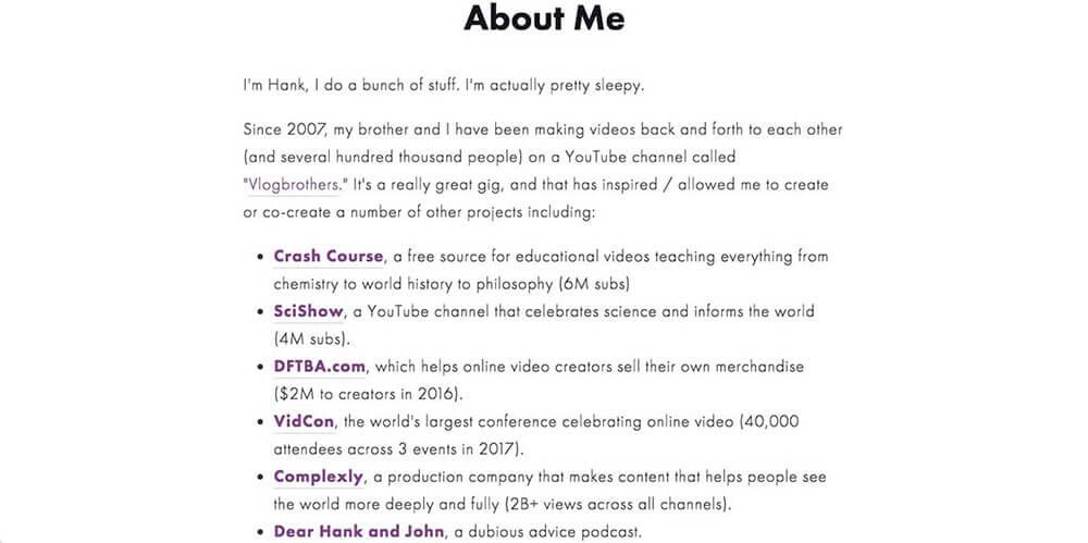 Hank Green's personal website