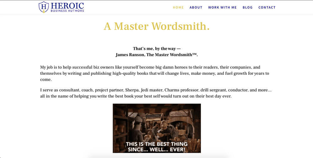 James Ranson's Heroic Business Authors website