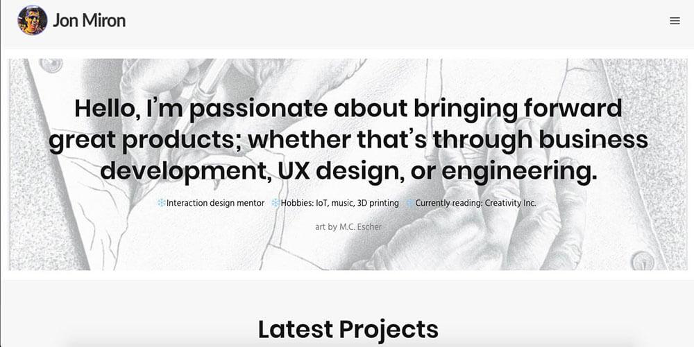 Jon Miron's personal website