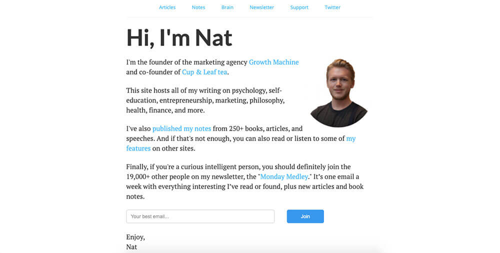Nat Eliason's personal website