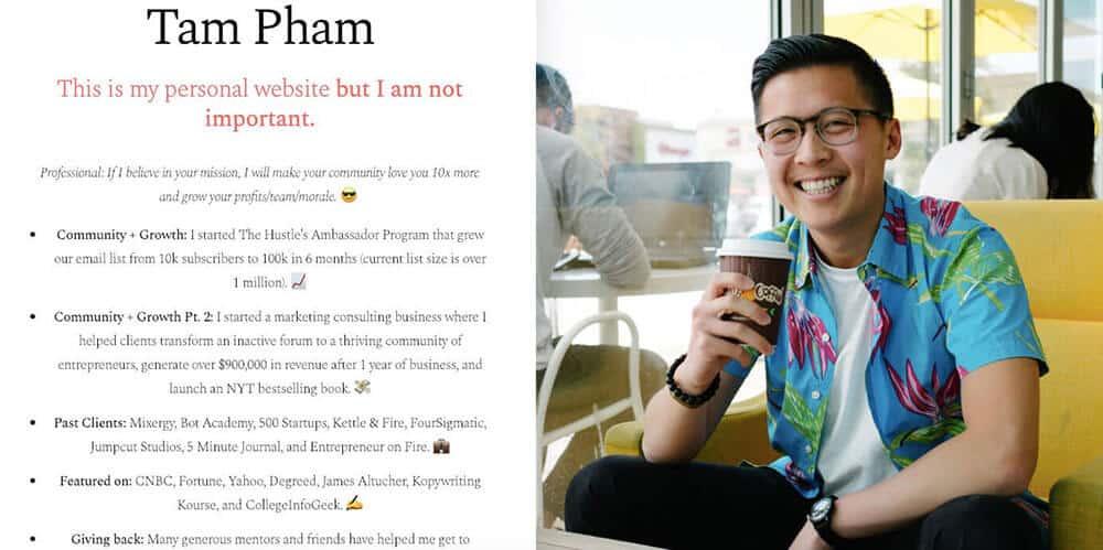 Tam Pham's personal website