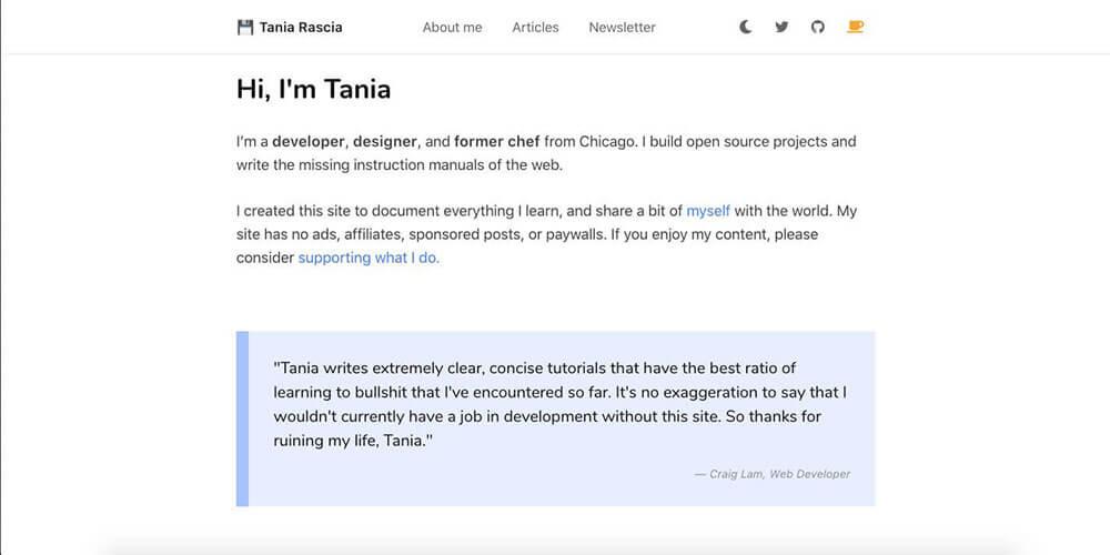 Tania Rascia's personal website