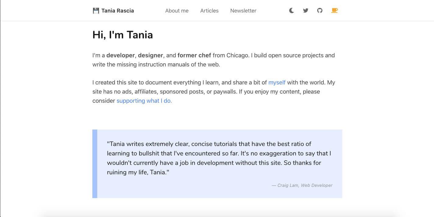 Tania Rascia Website