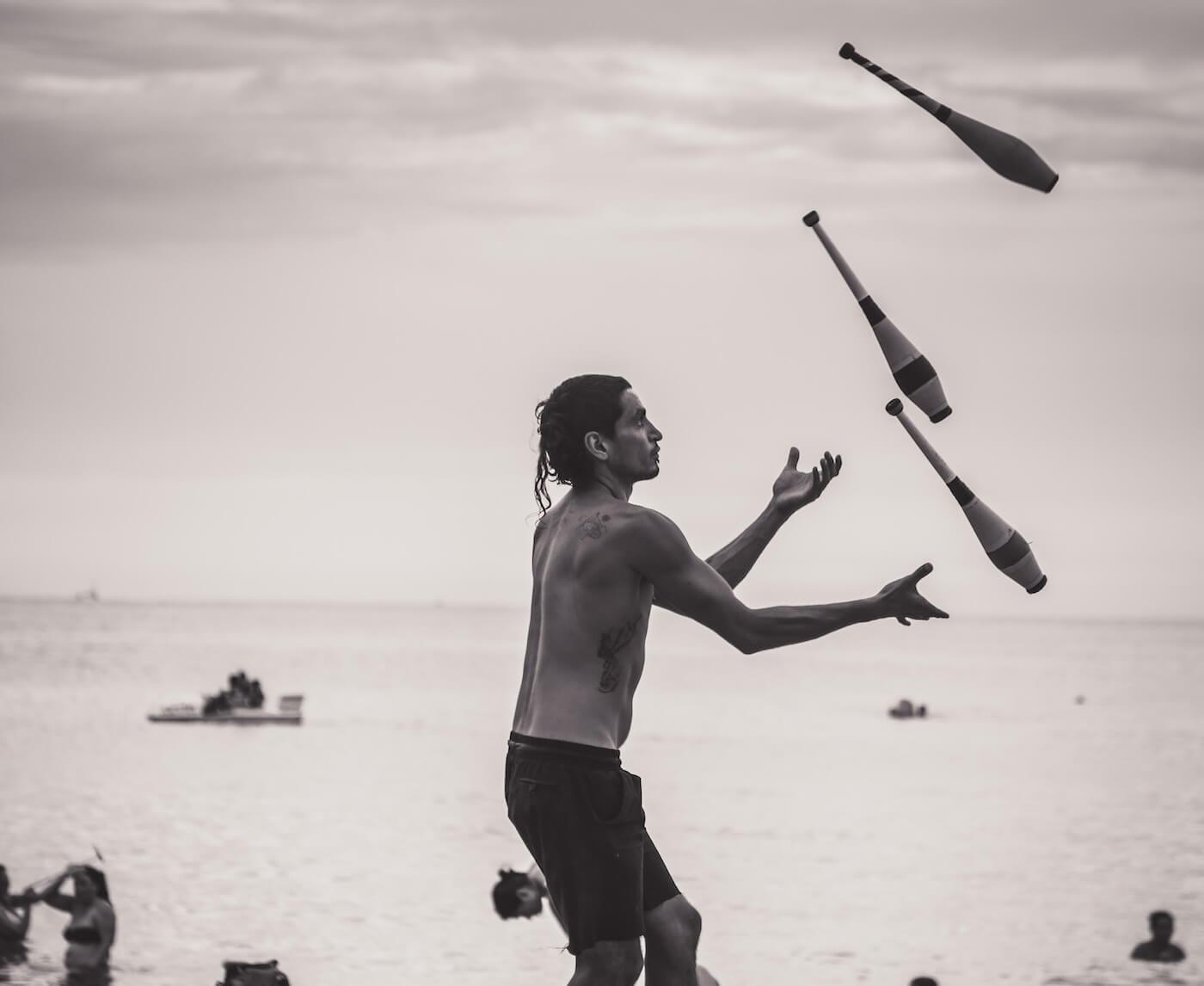 juggling on beach