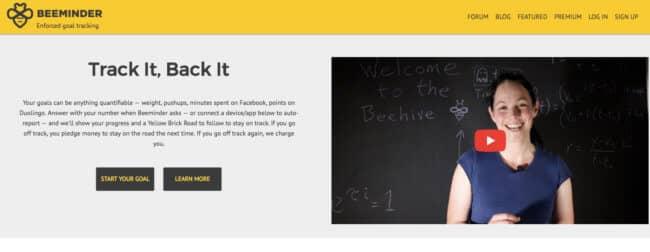 Beeminder homepage