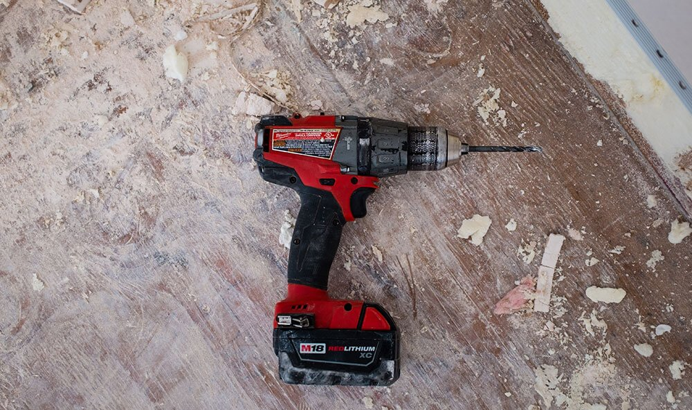power drill on floor
