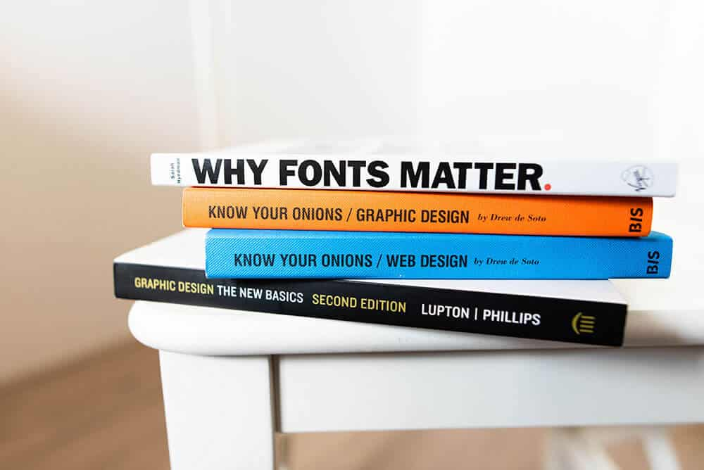 stack of design books