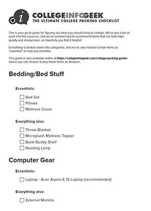 College Packing Guide Printable Version