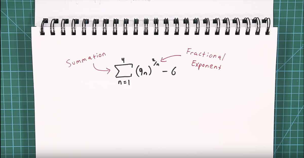 summation problem includes fractional exponent