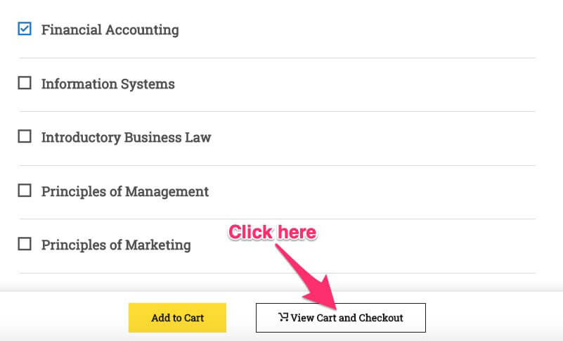 "Clicking ""View Cart and Checkout"""