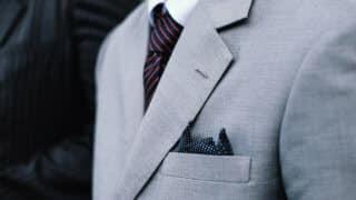 Closeup fo grey suit