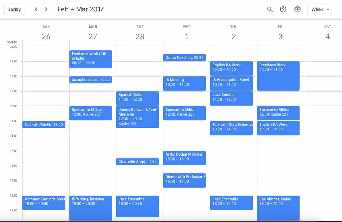 Senior year Google Calendar