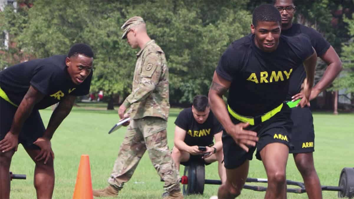Army ROTC members exercising