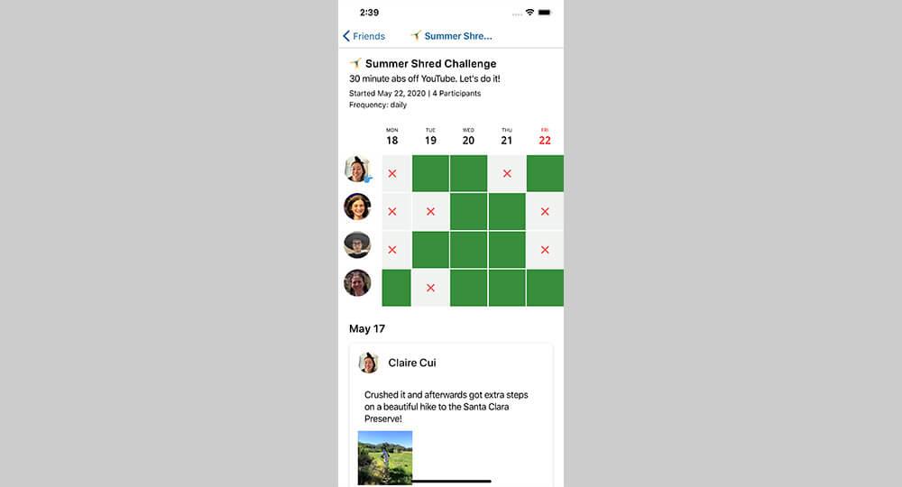 SnapHabit group challenge screen