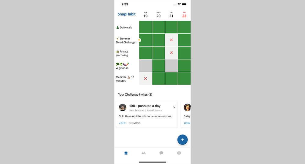 SnapHabit home screen