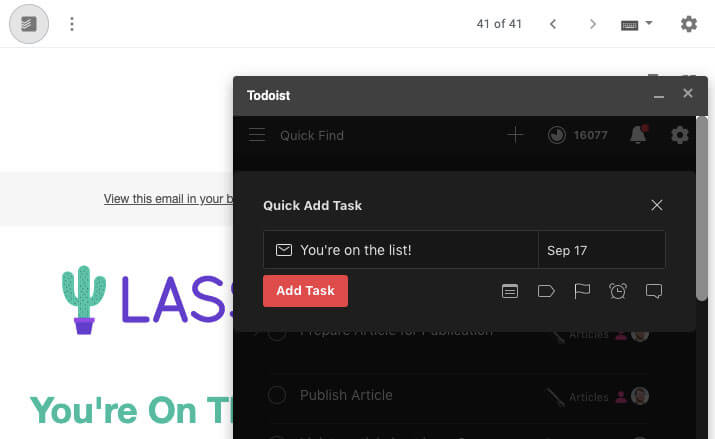 Adding email to Todoist