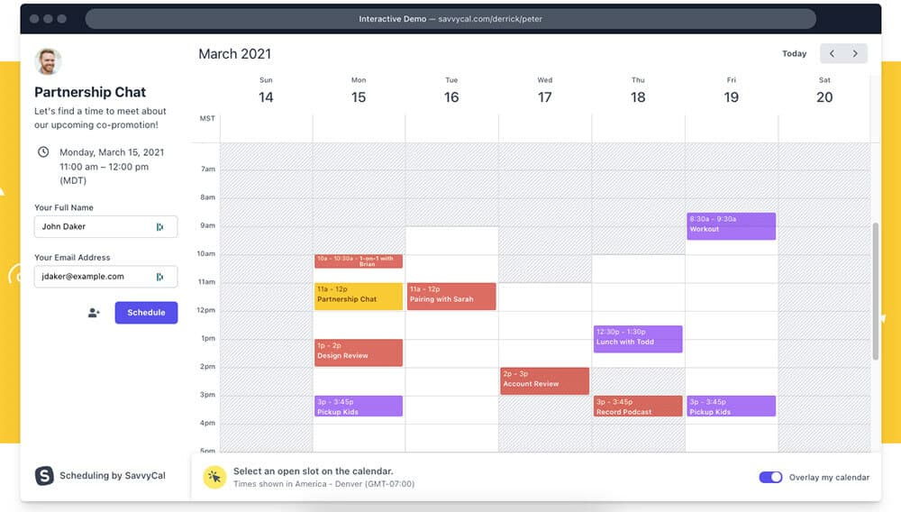 Scheduling a meeting in SavvyCal