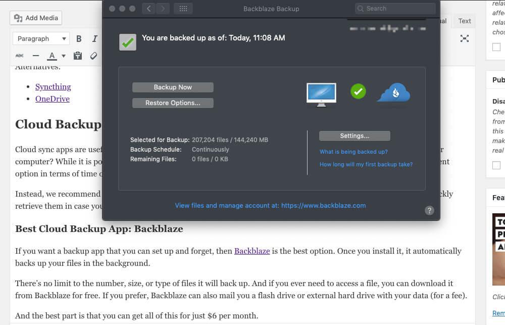 Backblaze backing up files