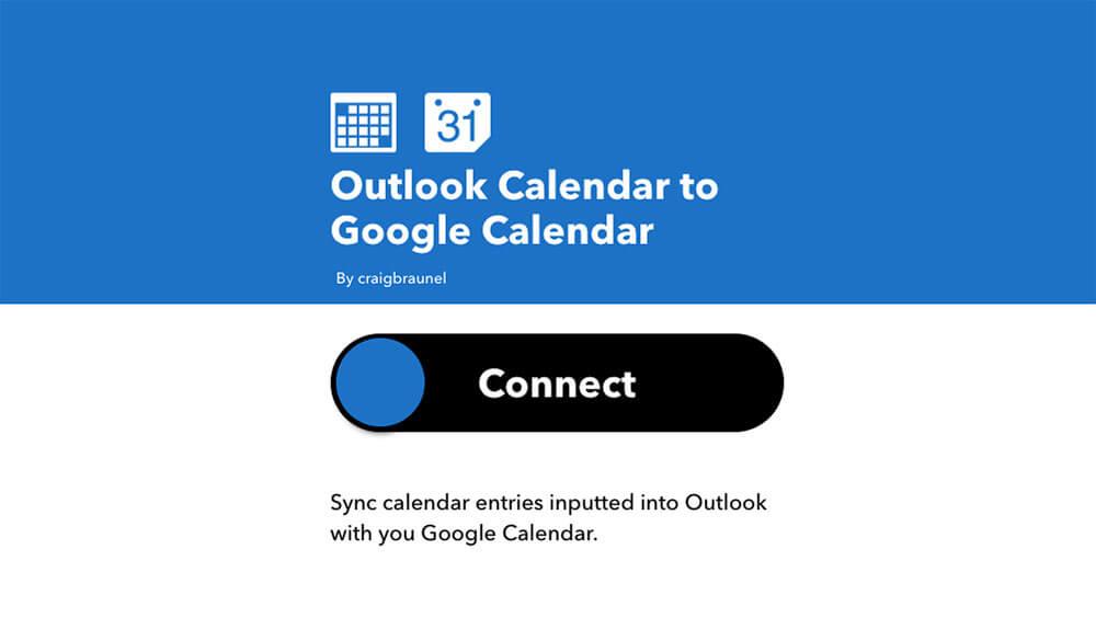 Using IFTTT to connect Outlook Calendar and Google Calendar