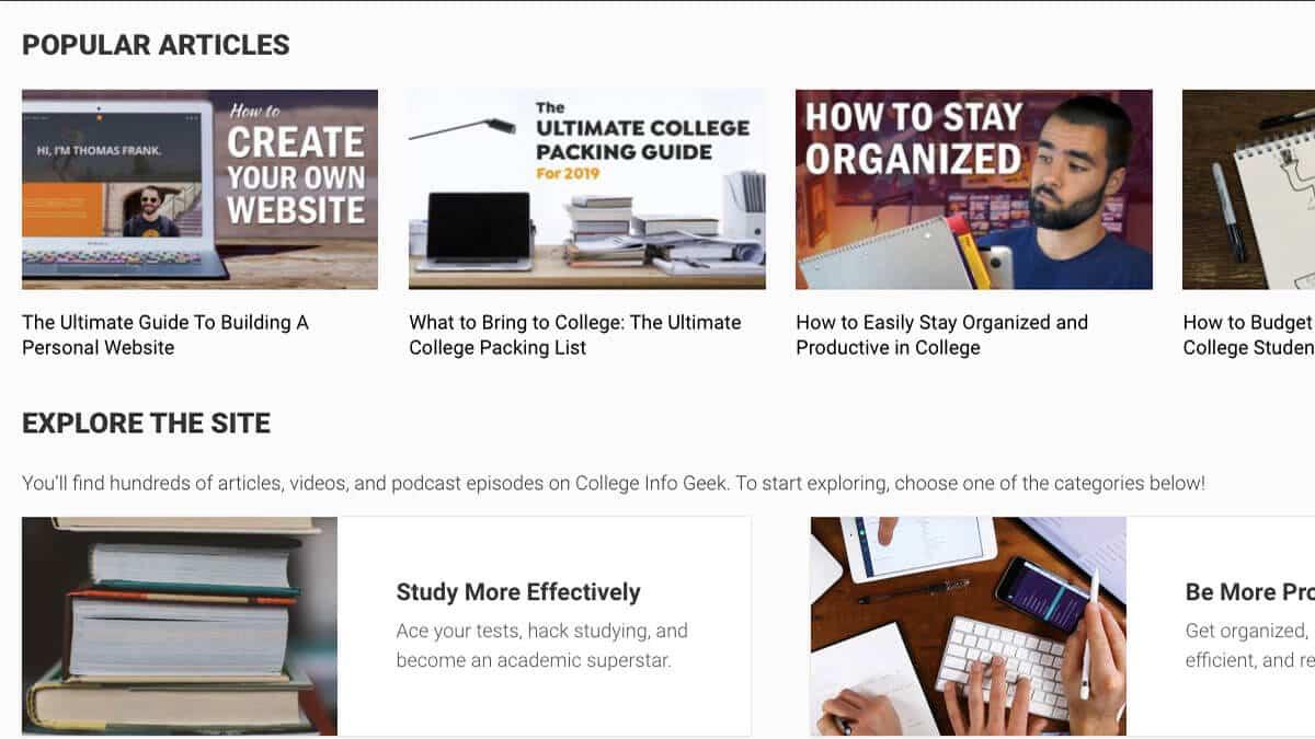 College Info Geek homepage