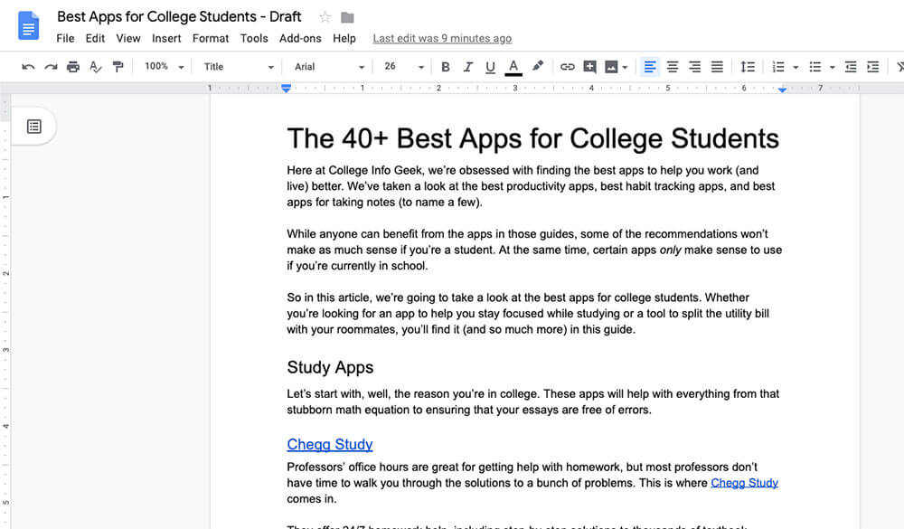 Best apps for college students article open in Google Docs