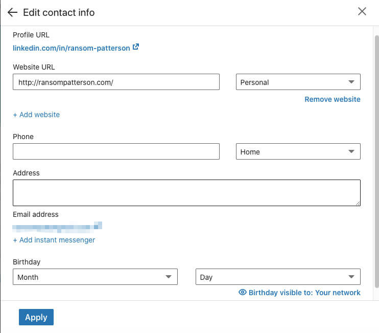 LinkedIn Edit contact info page