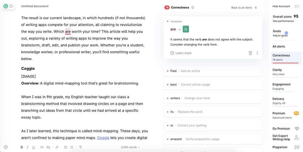 Grammarly app interface