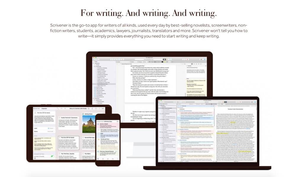 Scrivener app sales page screenshot