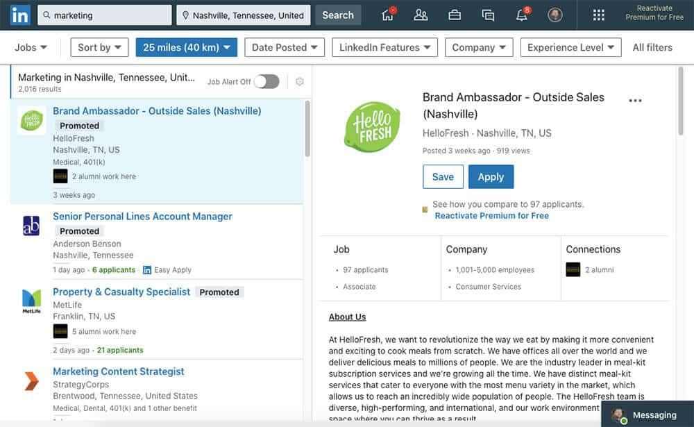 Searching LinkedIn for marketing jobs in Nashville