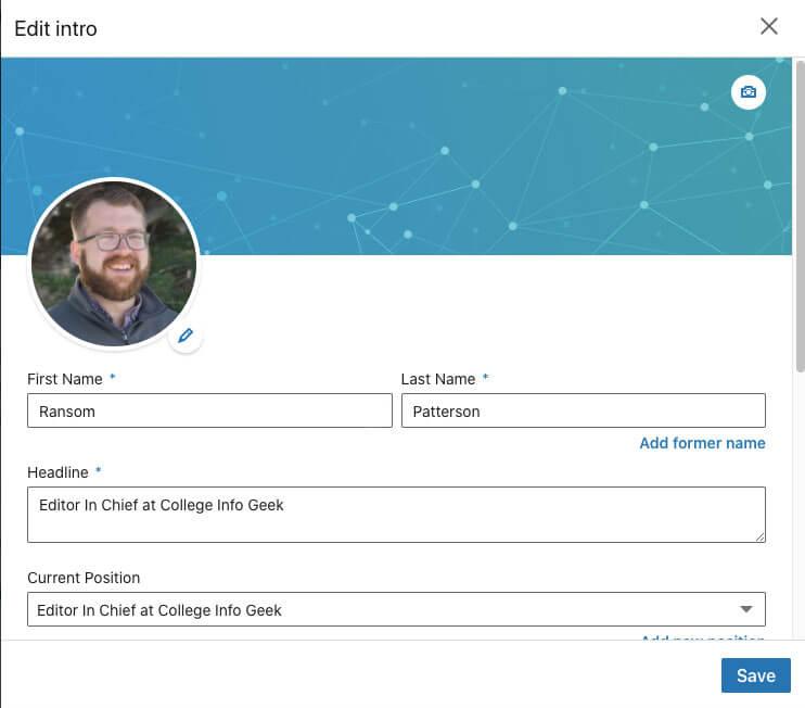 Editing LinkedIn Intro section