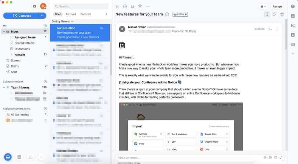 Front app interface screenshot