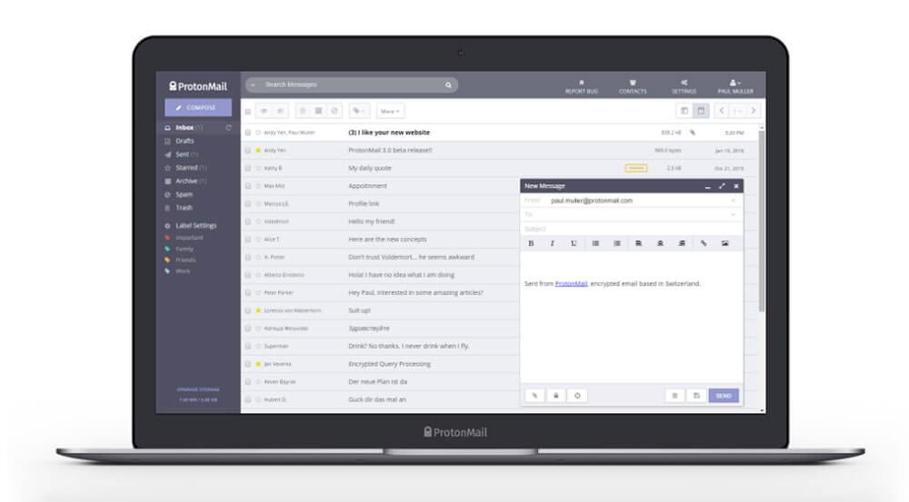 ProtonMail app on laptop