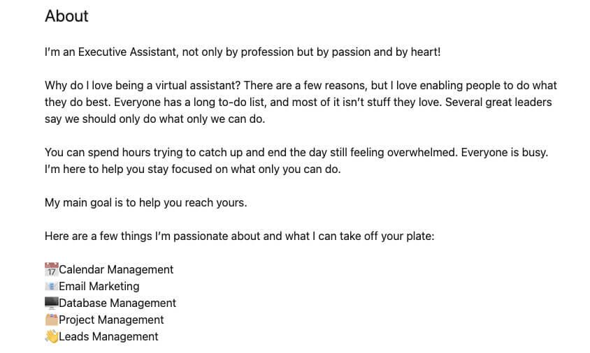 Virtual assistant LinkedIn page screenshot